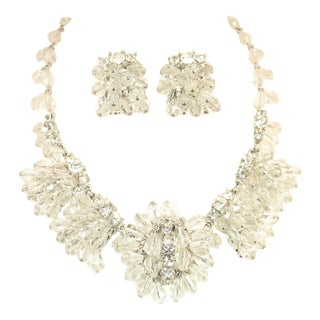 Mid-Century Hand-Made Austrian Crystal Cluster Necklace Suite 1950 For Sale