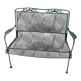 Mid Century Russell Woodard Wrought Iron Patio Settee Bench Chair For Sale