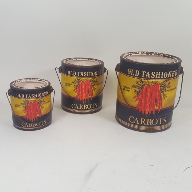 Green Carrot Canister Containers - Set of 3 For Sale - Image 8 of 8