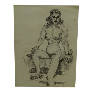 "1956 Mid-Century Modern Original Drawing on Paper, ""Nude With Pretty Shoe"" by Tom Sturges Jr."