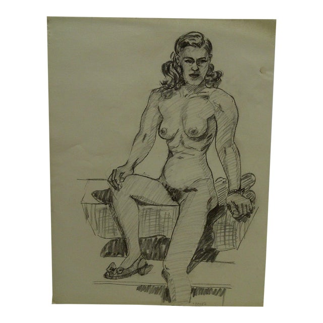 """1956 Mid-Century Modern Original Drawing on Paper, """"Nude With Pretty Shoe"""" by Tom Sturges Jr. For Sale"""
