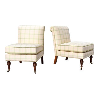 Scalamandre' Silk Scroll Back Slipper Chairs on Brass Casters, Pair For Sale