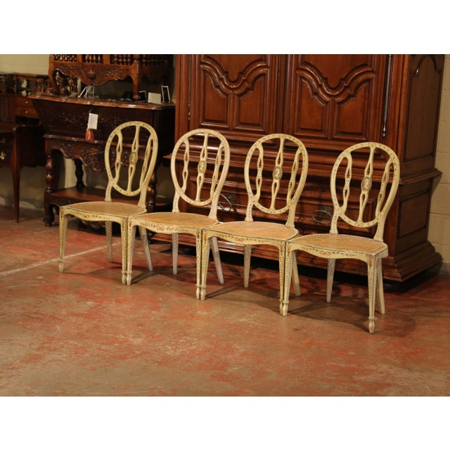 Mid 19th Century Mid-19th Century Vintage Hepplewhite Style Painted Chairs- Set of 4 For Sale - Image 5 of 13