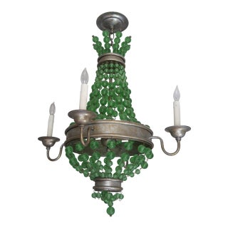 """Currey & Co """"Goddess"""" Four Light Green Crystal Bead Chandelier For Sale"""