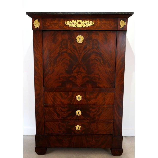 Antique 1852 French Empire Secretaire Abattant Secretary Desk For Sale In West Palm - Image 6 of 12