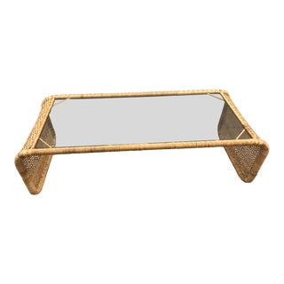 Rattan Wrapped Coffee Table For Sale