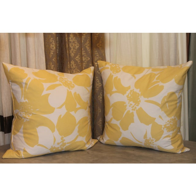 Custom Yellow & White Floral Pillows - A Pair - Image 2 of 4