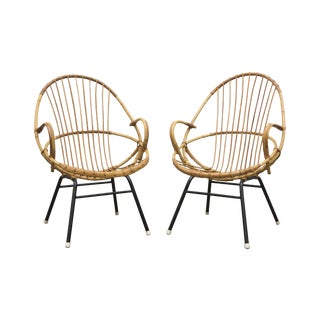 Rohe Noordwolde Bamboo Hoop Chairs - A Pair For Sale