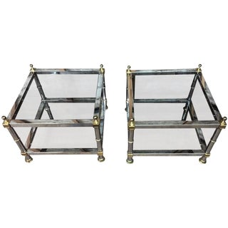 Stunning Pair of Modern Greek Key Chrome and Brass Double Tier Side Tables For Sale