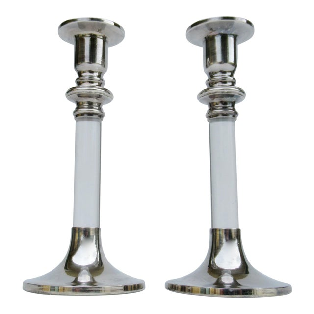Vintage Mid-Century Karl Springer-Style, Lord & Taylor Silver Plate & Lucite Candle Holders -A Pair For Sale
