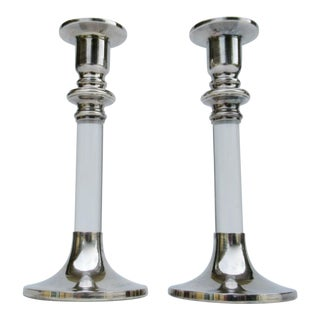 Vintage Mid-Century Lord & Taylor Silver Plate & Lucite Candle Holders -A Pair For Sale