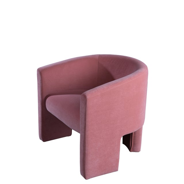 Contemporary Leblon Barrel Chair in Rose For Sale - Image 3 of 6