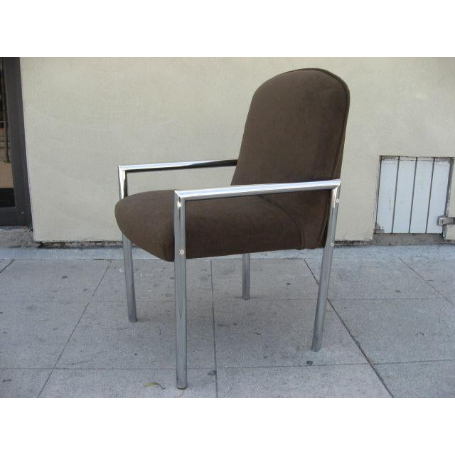 Mid-Century Modern 1970s Chrome Armchairs - Set Of 6 For Sale - Image 3 of 4