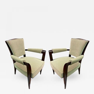 Maison Dominique Chic Pair of Armchairs, Newly Reupholstered in Velvet