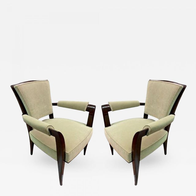 Art Deco Maison Dominique Chic Pair of Armchairs, Newly Reupholstered in Velvet For Sale - Image 3 of 3