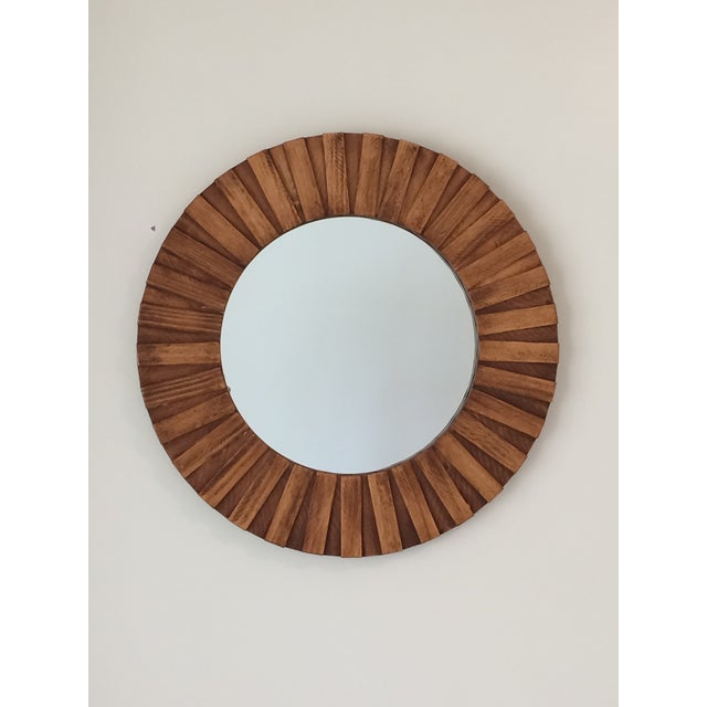 """Round Wall Mirror Teak Color 26"""" For Sale - Image 11 of 11"""
