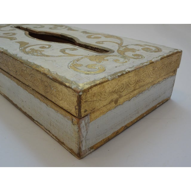 Mid 20th Century Vintage Florentine Gold Gilt Tissue Box For Sale - Image 5 of 9