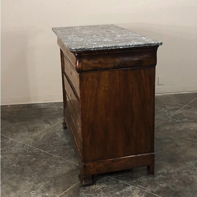 19th Century Louis Philippe Burl Walnut Marble Top Commode For Sale - Image 9 of 11