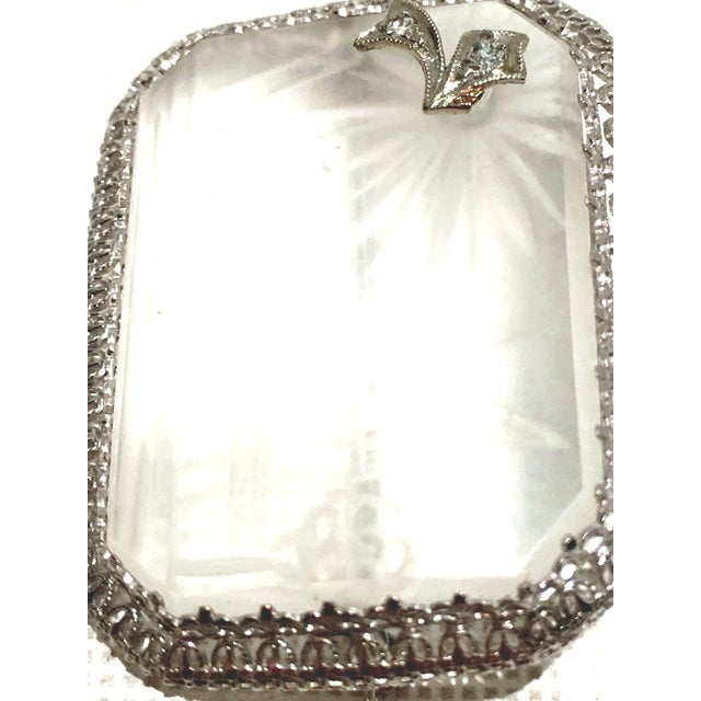 Antique Platinum Etched Crystal & Diamond Brooch For Sale - Image 4 of 9