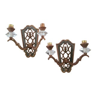 1940s French Bronze and Glass Sconces - a Pair For Sale