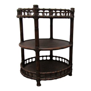 1980s Boho Chic Round Woven Rattan & Bent Bamboo Side Table For Sale