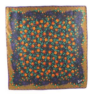 Kenzo Multi Flowers Design Pattern Silk Scarf For Sale