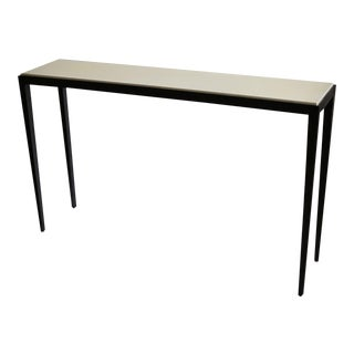 Modern Steel and White Leather Top Console