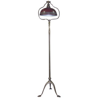 1900s Art Nouveau Tiffany Studios Signed Metal Tripod Floor Lamp For Sale