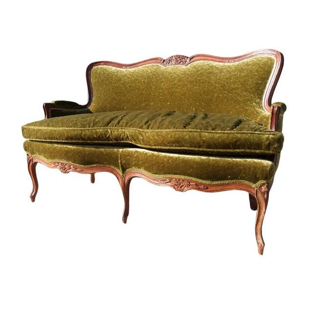 Antique Victorian Velvet Sofa Settee Green For Sale