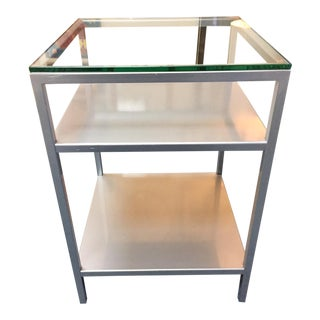 Industrial Style Three Tiered Glass Top Side Table For Sale