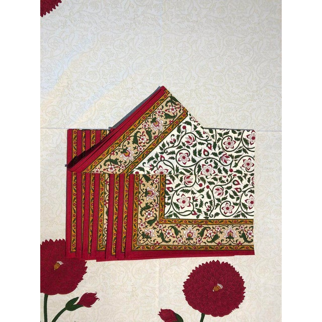 Early 21st Century Brigitte Singh Hand Block Printed Tablecloth and Napkins - Set of 9 For Sale - Image 5 of 7