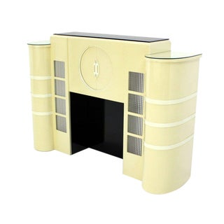 White Lacquer Mid-Century Modern Style Faux Fireplace Mantel Dry Bar For Sale