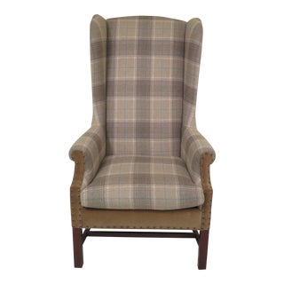 Lillian August High Back Plaid Print Upholstered Wing Chair For Sale