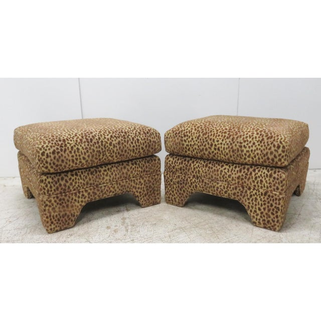 Leopard Upholstered Ottomans - A Pair For Sale - Image 5 of 5