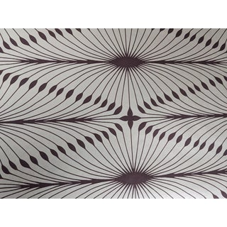 Purple & Silvery Gold Geometric Floral Wallpaper For Sale