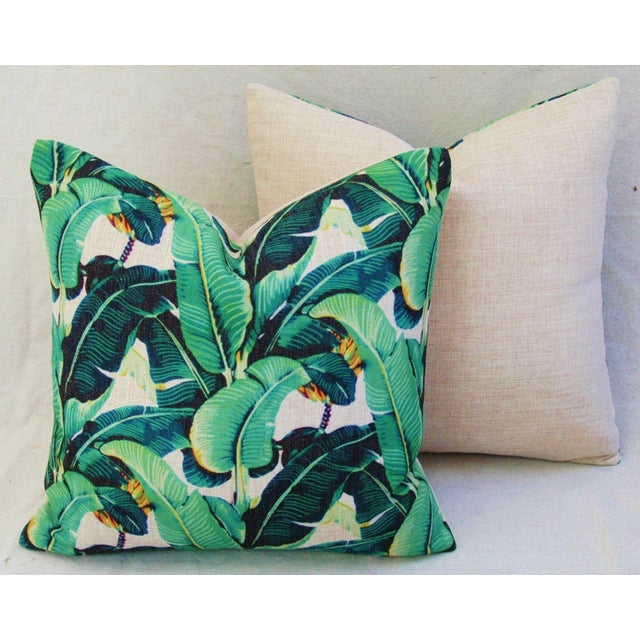 Pair of Dorothy Draper style/inspired banana leaf motif accent pillows. Pillow fronts are a contemporary, printed linen-...