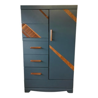 Vintage Mid Century Smoky Blue Gentleman's Wardrobe For Sale
