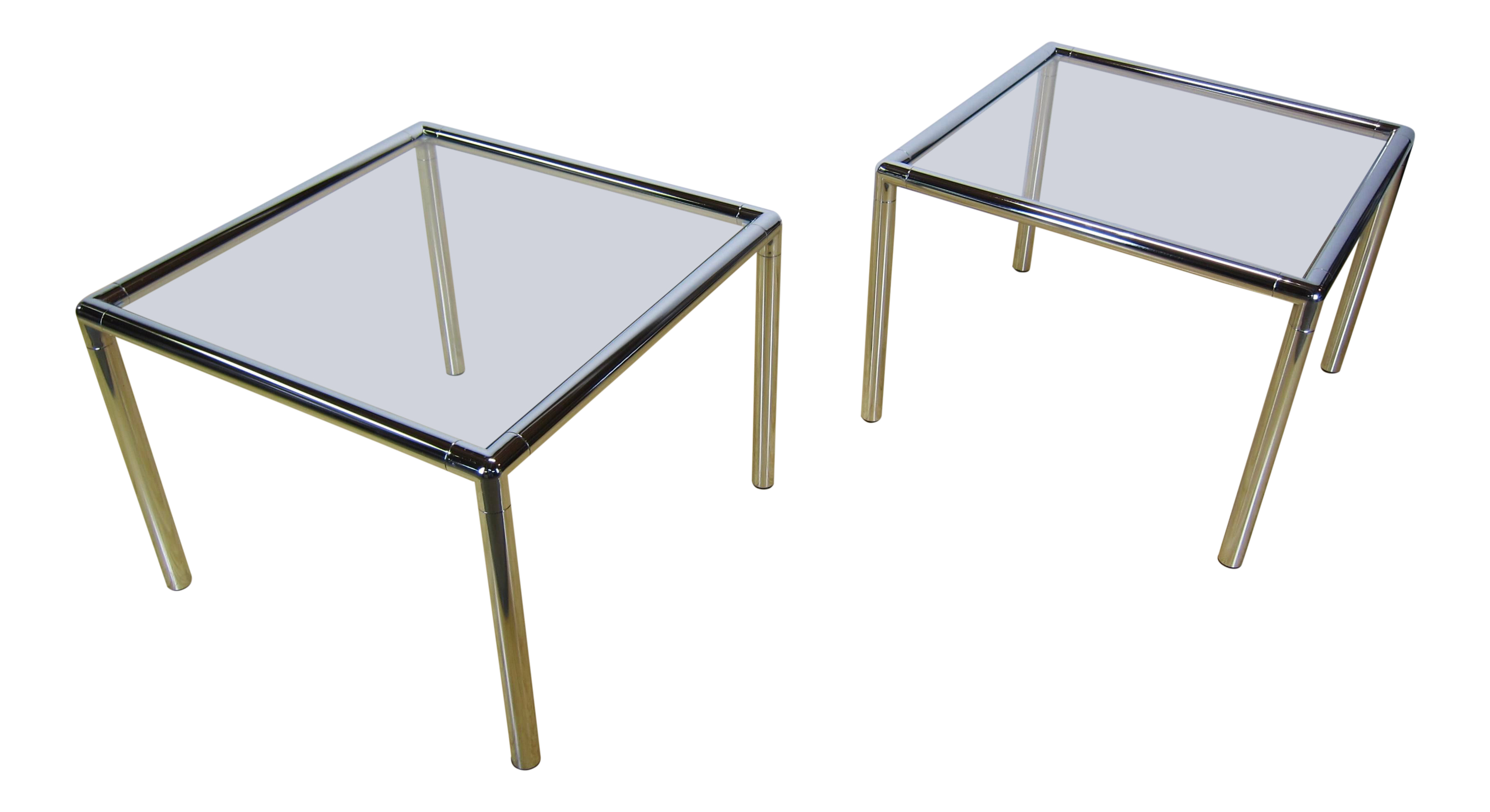 Modern Chrome U0026 Glass Side Tables   A Pair
