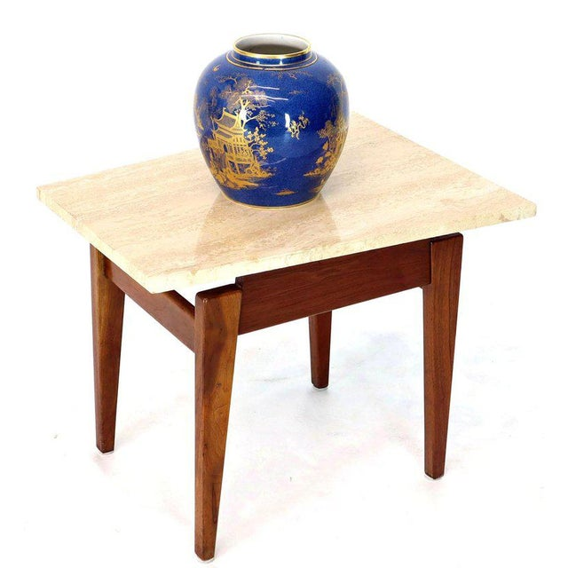 Mid-Century Modern Risom Walnut End Tables W/ Wedge Shape Travertine Marble Tops - A Pair For Sale - Image 3 of 13