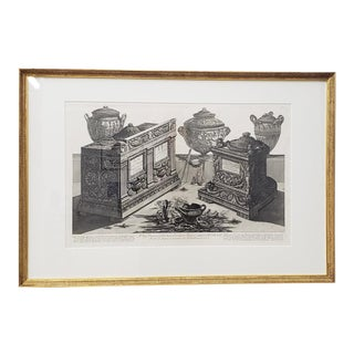 "Giovanni Piranesi ""Marble Urns, Vases and Lamps"" Etching C. 1770 For Sale"