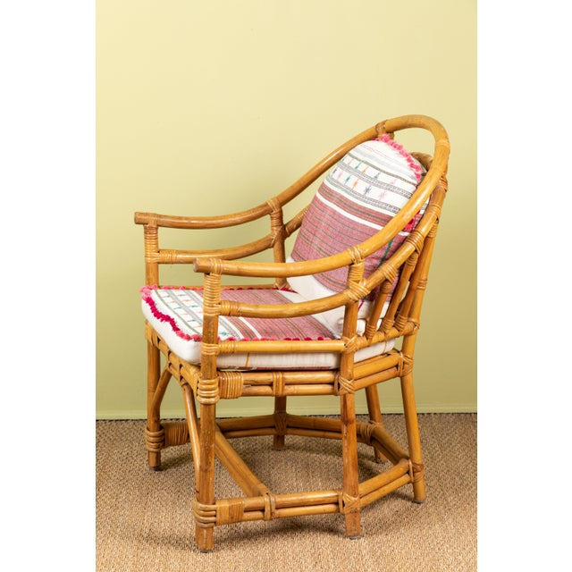 Vintage Rattan Chair With Injiri Cushions For Sale - Image 4 of 9