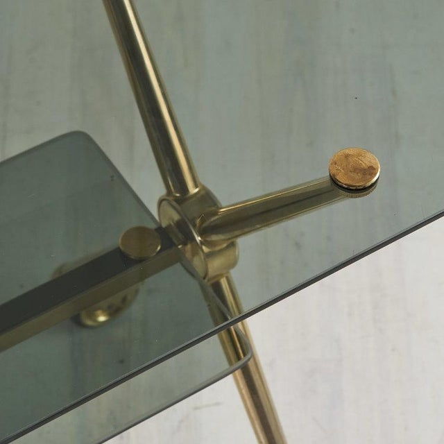 Mid 20th Century French Brass and Smoked Glass Rolling Bar Cart For Sale - Image 5 of 6