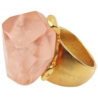 Dominique Denaive Paris Oversized Pink Resin Stone and Gilt Metal Cocktail Ring For Sale