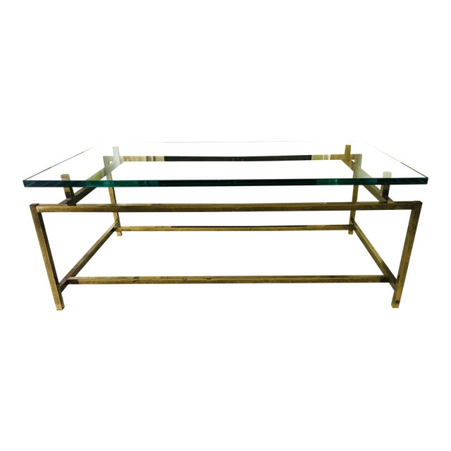 Mid Century Coffee Table Brass and Glass Floating For Sale