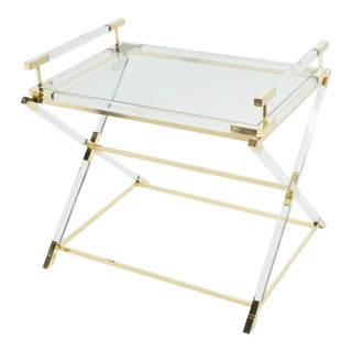1970s French Maison Jansen Lucite and Brass Tray Table For Sale