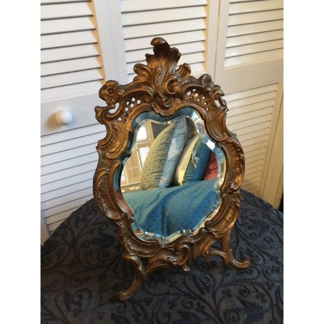 1800s Antique Louis XV Style French Vanity Mirror For Sale - Image 4 of 13