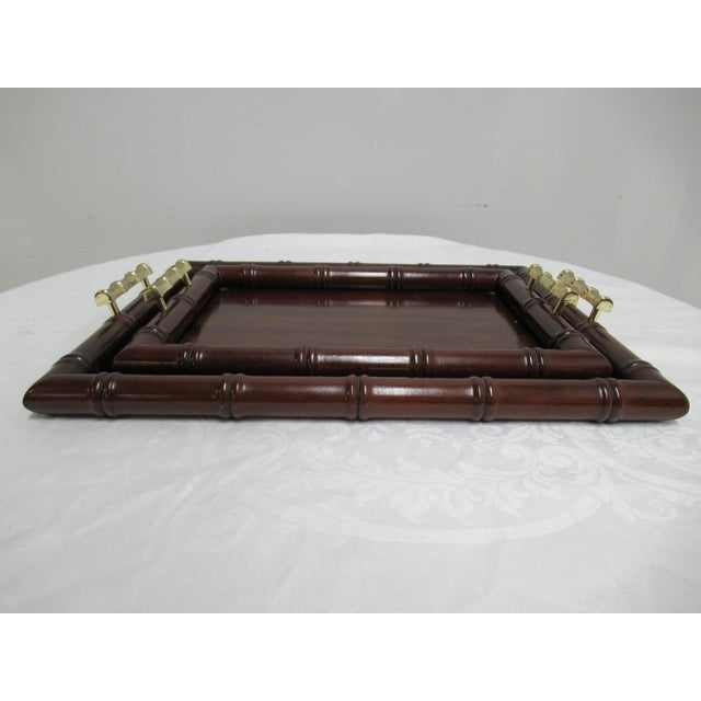 Faux Bamboo 1990s Vintage Bombay Company Faux Bamboo Stacking Trays - A Pair For Sale - Image 7 of 12