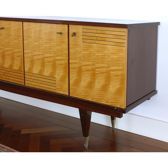 Ameublement Nf Mahogany and Satinwood Credenza With Brass Hardware From France For Sale - Image 10 of 13
