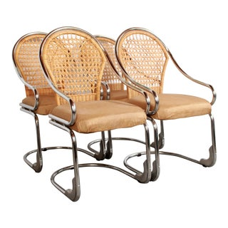 Mid Century Modern Italian Chrome & Woven Rattan Wicker Dining Chairs - Set of 4 For Sale