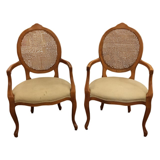 Cane Back Armchairs- A Pair - Image 1 of 10